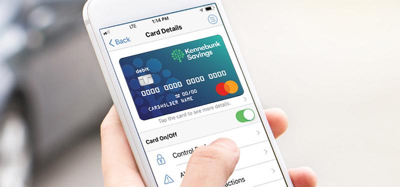 Debit Card Controls on the Kennebunk Savings app