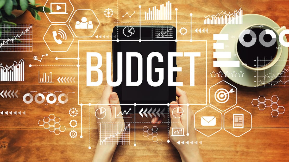 Illustration of the word budget on top of an iPad