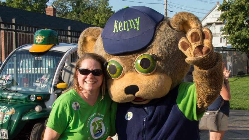 Staff with Kenny the Bear mascot