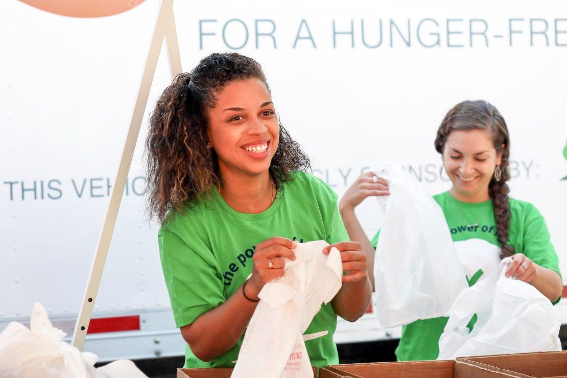 Staff volunteering at a food bank