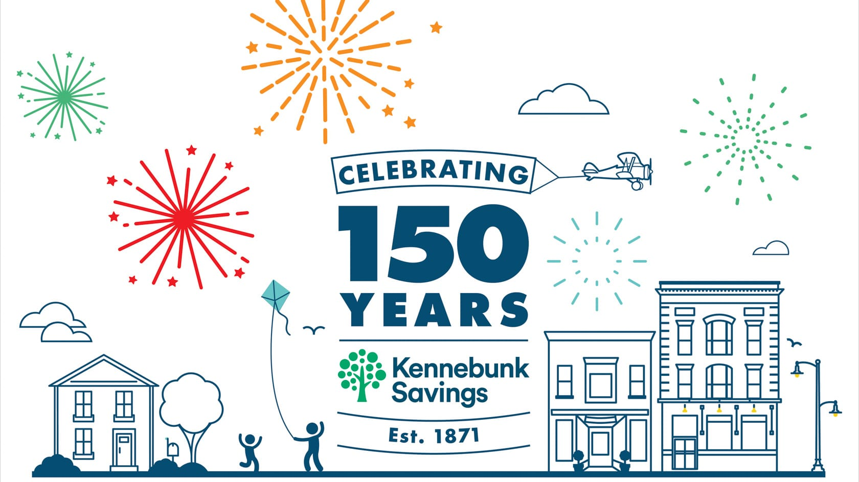 graphic of fireworks and text that reads celebrating 150 years