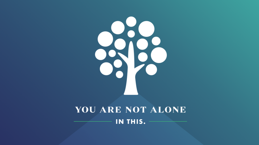 White logo tree, you are not alone text