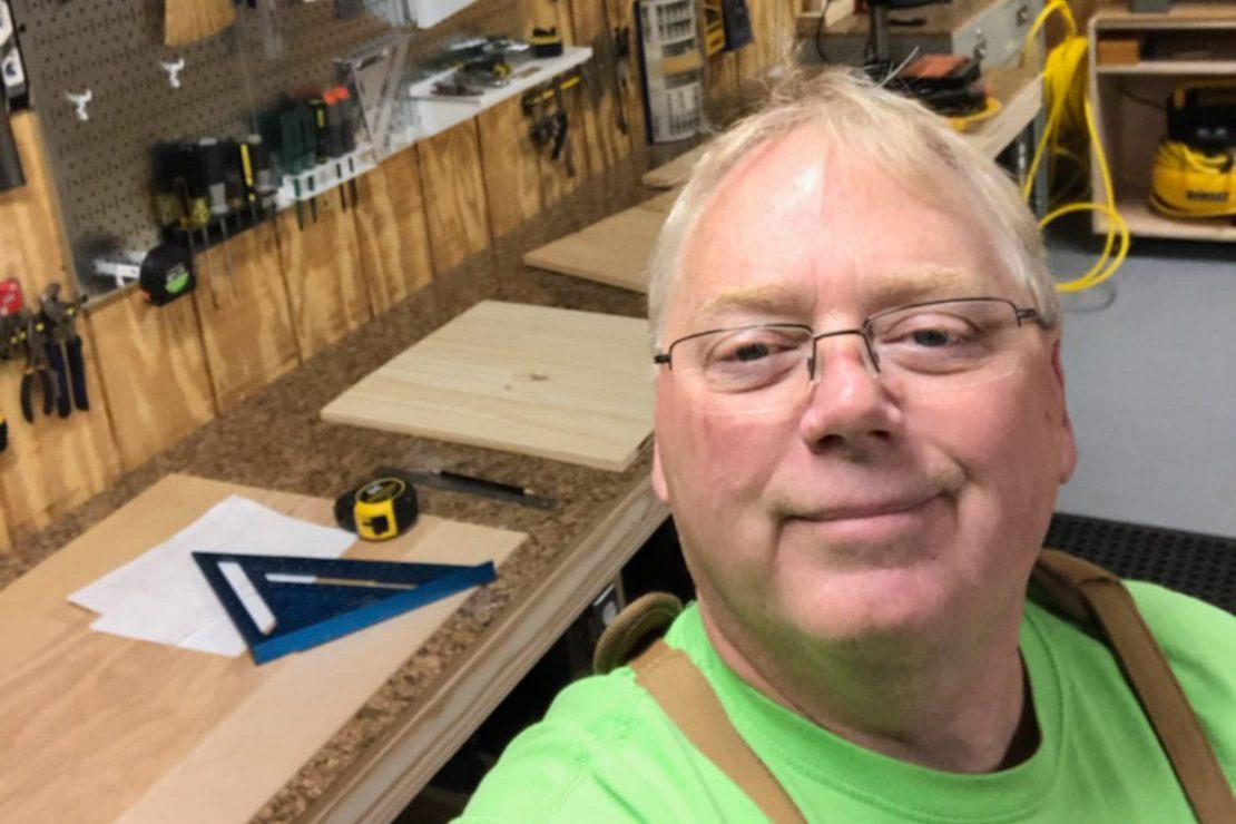 Dennis Byrd in a woodshop