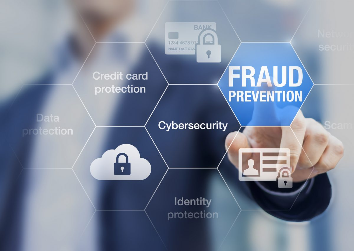 fraud prevention grid with someone pointing at the words fraud prevention