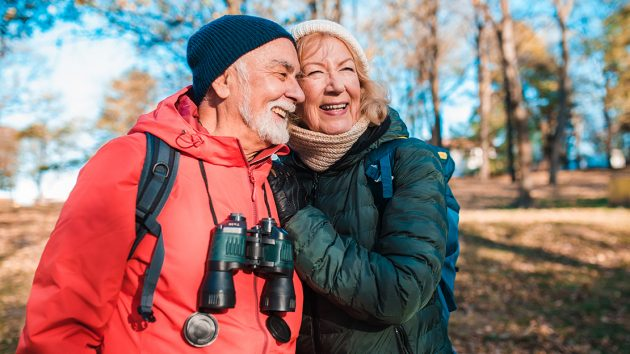 older couple, walking, outside