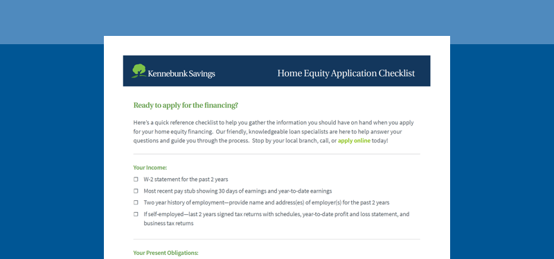 Home Equity Application Checklist