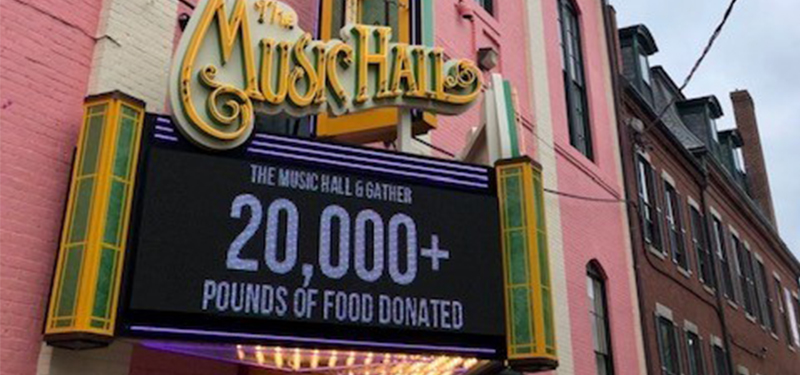 Theatre marquee from Gather's 'Fill the Hall' food drive