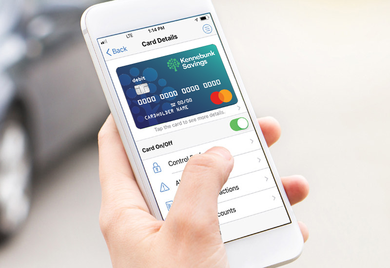 Smartphone showing mobile Debit Card Controls